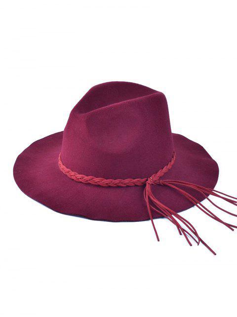Floppy trenzada borla de sombrero de fieltro - Vino Rojo  Mobile