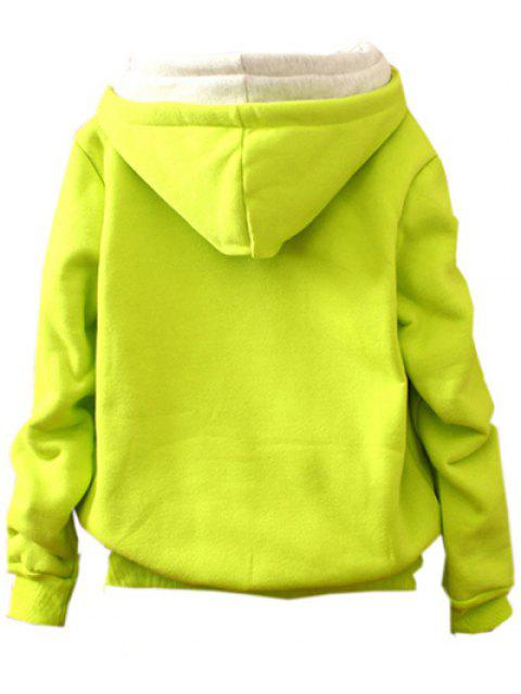 fancy Front Pocket Fleece Hoodie - FLUORESCENT YELLOW ONE SIZE Mobile