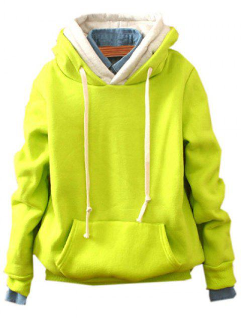 fancy Front Pocket Fleece Hoodie - FLUORESCENT YELLOW ONE SIZE Mobile