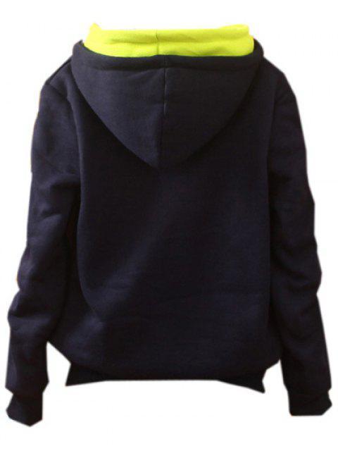 unique Front Pocket Fleece Hoodie - PURPLISH BLUE ONE SIZE Mobile
