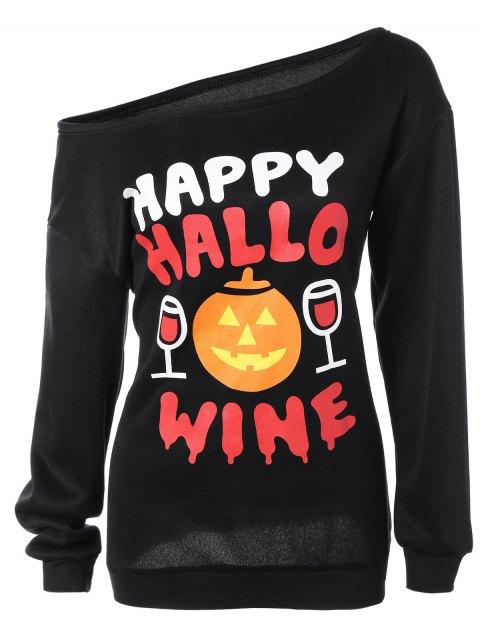 Schrägkragen-Kürbis-Druck-Halloween-Sweatshirt - Schwarz M Mobile