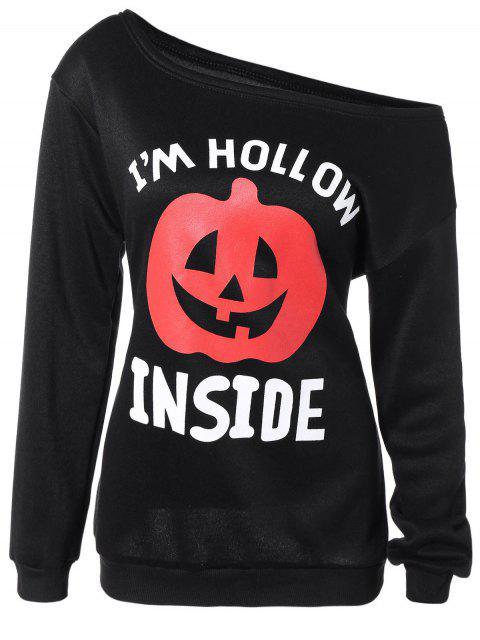 hot Halloween Pumpkin Print One-Shoulder Sweatshirt - BLACK S Mobile