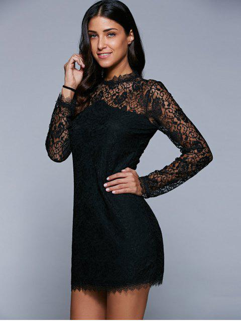 outfits Bodycon See-Through Dress - BLACK L Mobile