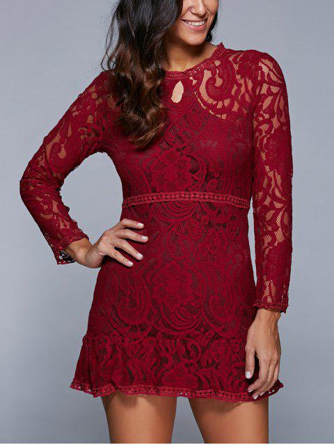 affordable A-Line See-Through Dress - WINE RED M Mobile
