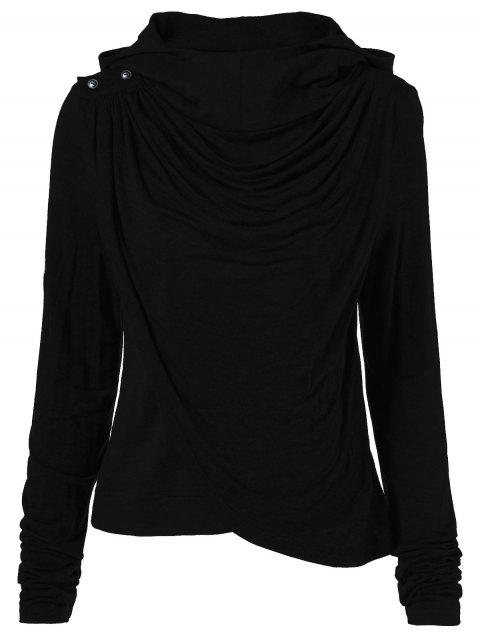 trendy Draped Hoodie - BLACK S Mobile