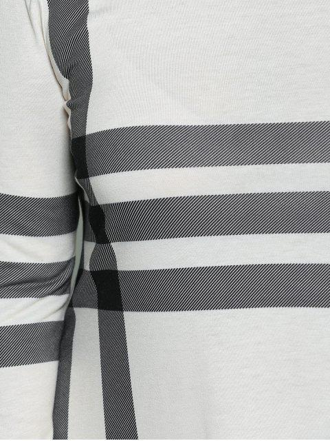 ladies Vertical Plus Size Striped Tee Dress - OFF-WHITE 3XL Mobile