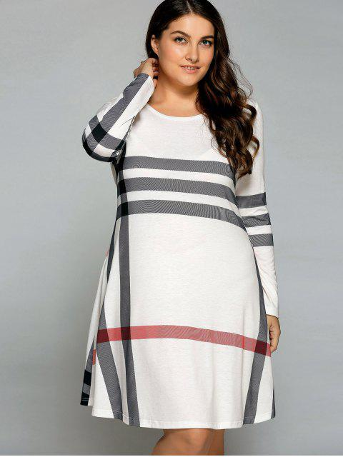 lady Vertical Plus Size Striped Tee Dress - OFF-WHITE 4XL Mobile