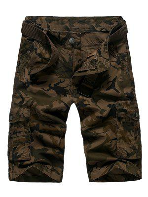 Zipper Fly Straight Leg Camouflage Cargo Shorts