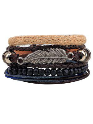 Vintage Feather Faux Leather Braided Bracelets
