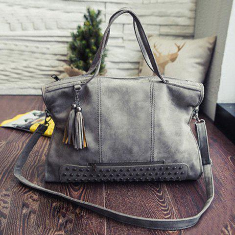 Tassel Rivet PU Leather Tote Handbag 196498503