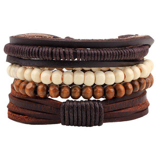 Perlé Layered Faux Bracelets en cuir