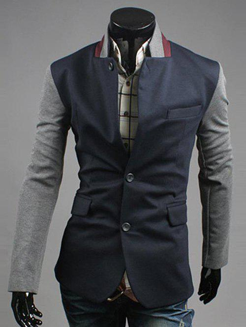 Lapel Color Block Splicing Design Single Breasted Blazer 196521508