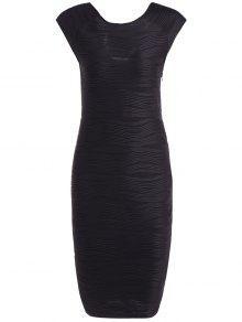 فستان ضيق مخطط  - أسود Xl