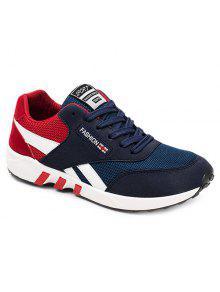 تنفس الدانتيل متابعة اللون كتلة أحذية رياضية - أحمر 43