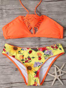 Printed Macrame Halter Bikini - Jacinth S