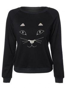 Kitten Embroidered Funny Sweatshirt - Black L