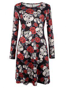 هالوين طباعة الجمجمة فستان طويل الأكمام - أسود S