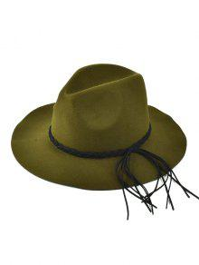 4b929a5a895f2 35% OFF] 2019 Floppy Braided Tassel Felt Hat In ANTIQUE BROWN   ZAFUL