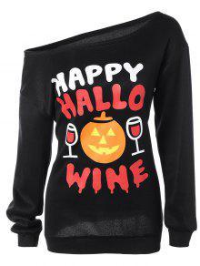 Skew Collar Pumpkin Print Halloween Sweatshirt - Black M