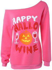Buy Skew Collar Pumpkin Print Halloween Sweatshirt - WATER RED XL