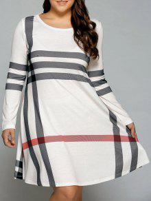 فستان تي شيرت الحجم الكبير مخطط  - أبيض فاتح 3xl