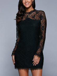 فستان ضيق شفاف - أسود L