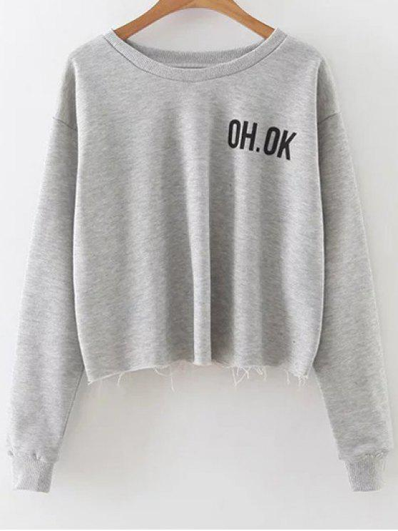 outfits Raw Edge Slouchy Cropped Sweatshirt - GRAY S
