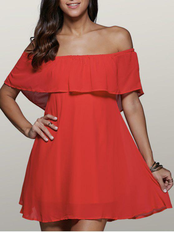 affordable Flounce Ruffles Off The Shoulder Mini Dress - RED 2XL