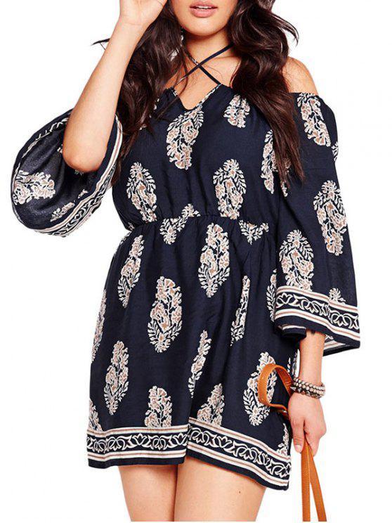 outfit Three Quarter Sleeve Cold Shoulder Dress - DEEP BLUE XL