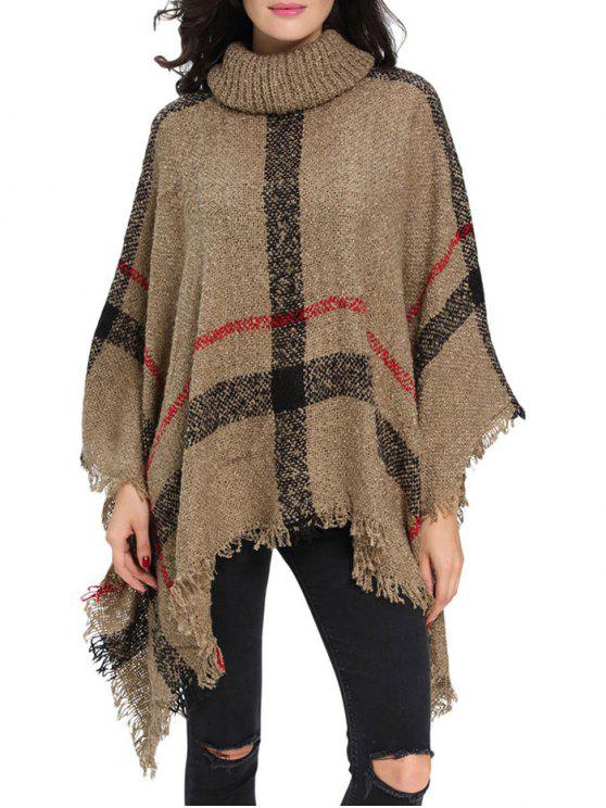 unique Turtle Neck Checked Knit Poncho - KHAKI ONE SIZE