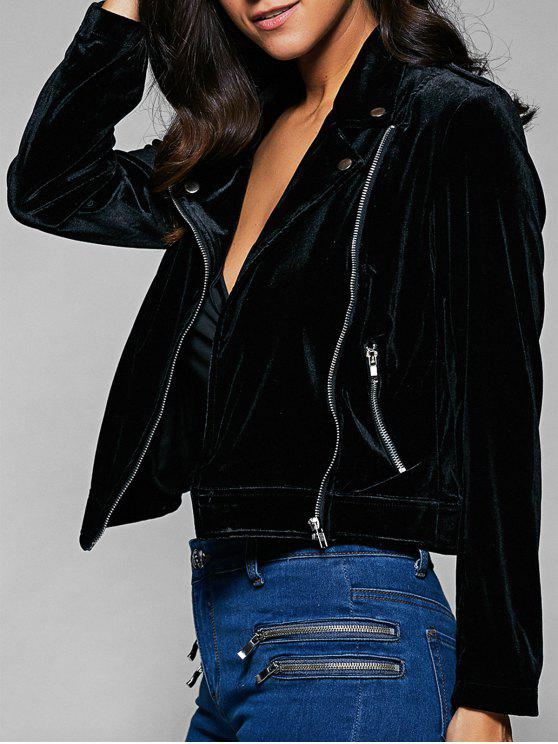 Múltiples chaqueta de cuello de solapa Cremalleras - Negro S