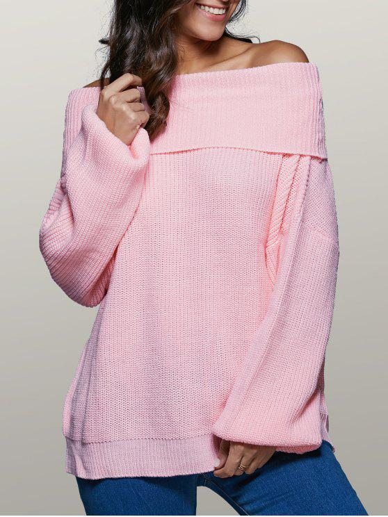 unique Foldover Off The Shoulder Sweater - PINK L