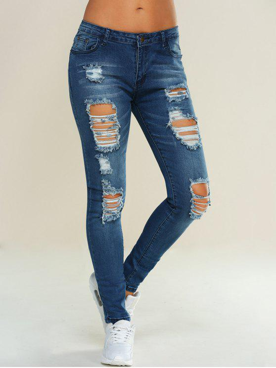 بنطلون جينز ممزق نحيل - أزرق L