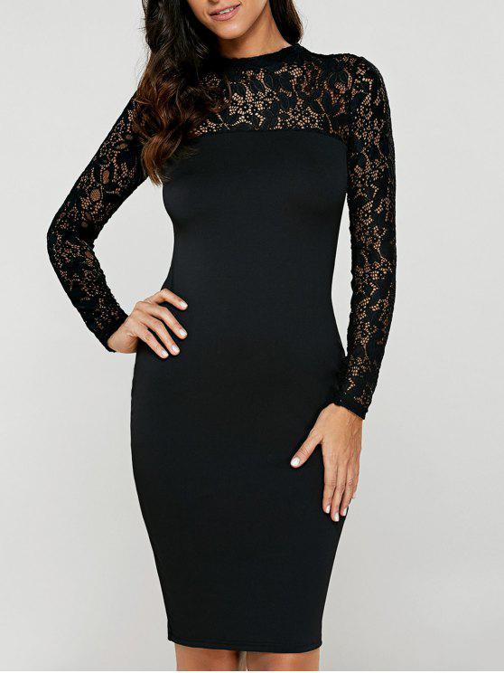 fashion Lace Insert Long Sleeve Pencil Dress - BLACK M