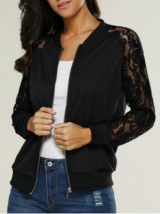 womens Lace Insert Bomber Zip Up Jacket - BLACK M