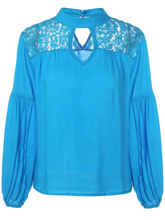online Lace Yoke Puffed Sleeve Top - BLUE M