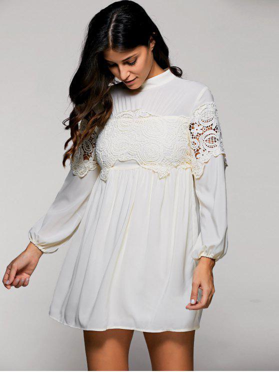 Long Sleeve Mock pescoço balanço Vestido - Damasco S
