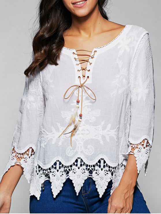 shops V Neck Lace Up Lace Blouse - WHITE ONE SIZE