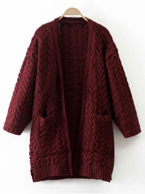 trendy Thickening Cable Knit Cardigan - WINE RED ONE SIZE