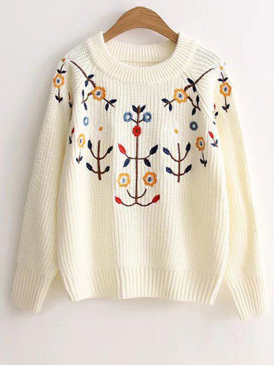 Floral bordado del suéter - Blanco Única Talla
