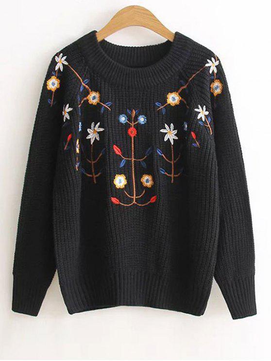 Floral bordado del suéter - Negro Única Talla