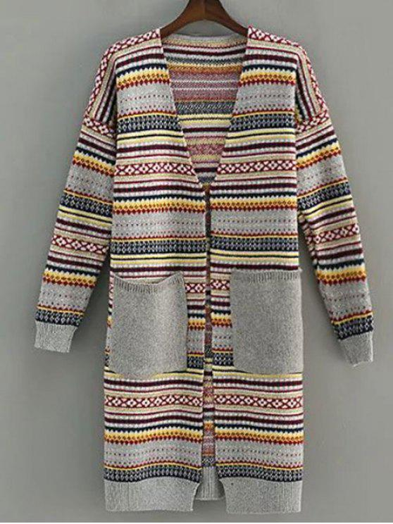 shop Striped Open Front Longline Cardigan - GRAY ONE SIZE