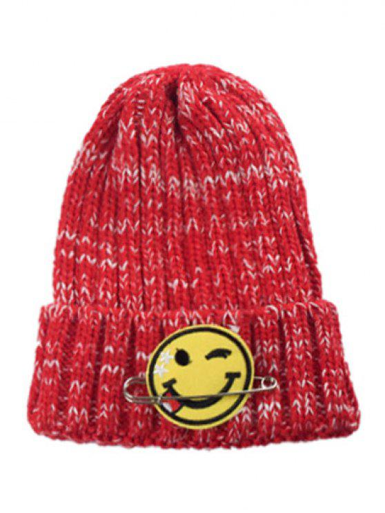 1811dd86fd53d 23% OFF  2019 Smile Face Pin Knitted Hat In RED