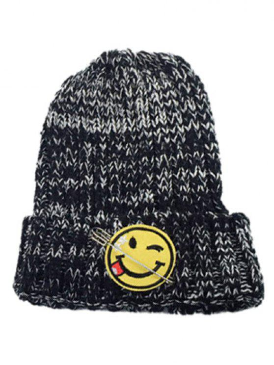8582310f2ab7c 2019 Smile Face Pin Knitted Hat In BLACK