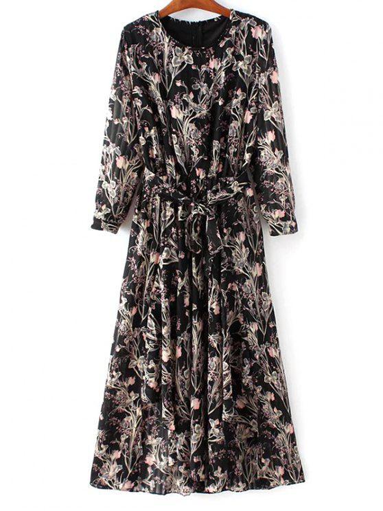 Vestido floral de la gasa con cinturón - Negro M