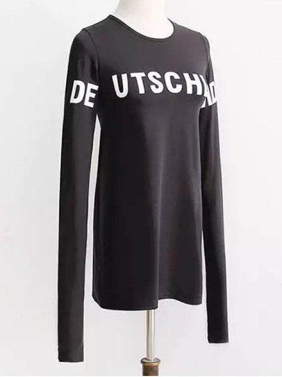 Contraste Lettre Imprimer manches longues T-shirt - Noir S
