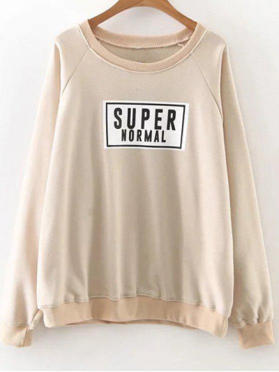 new Raglan Sleeve Graphic Pullover Sweatshirt - KHAKI S