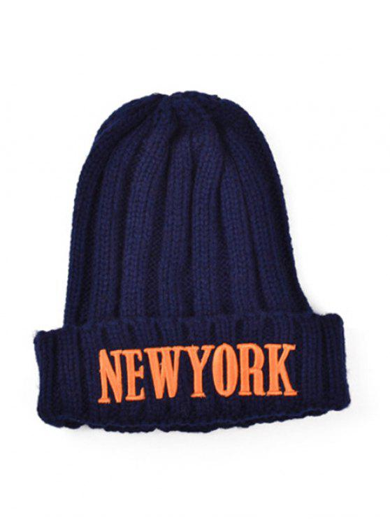 trendy Embroidery New York Knitted Hat - CADETBLUE