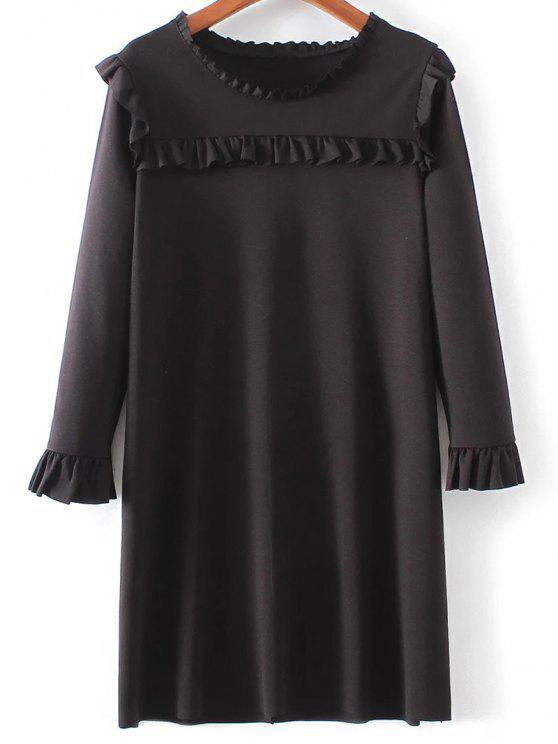lady Ruffled Flare Sleeve Mini Dress - BLACK S