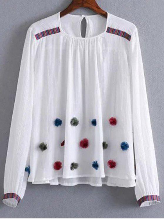 ladies Fuzzy Embroidered Blouse - WHITE M